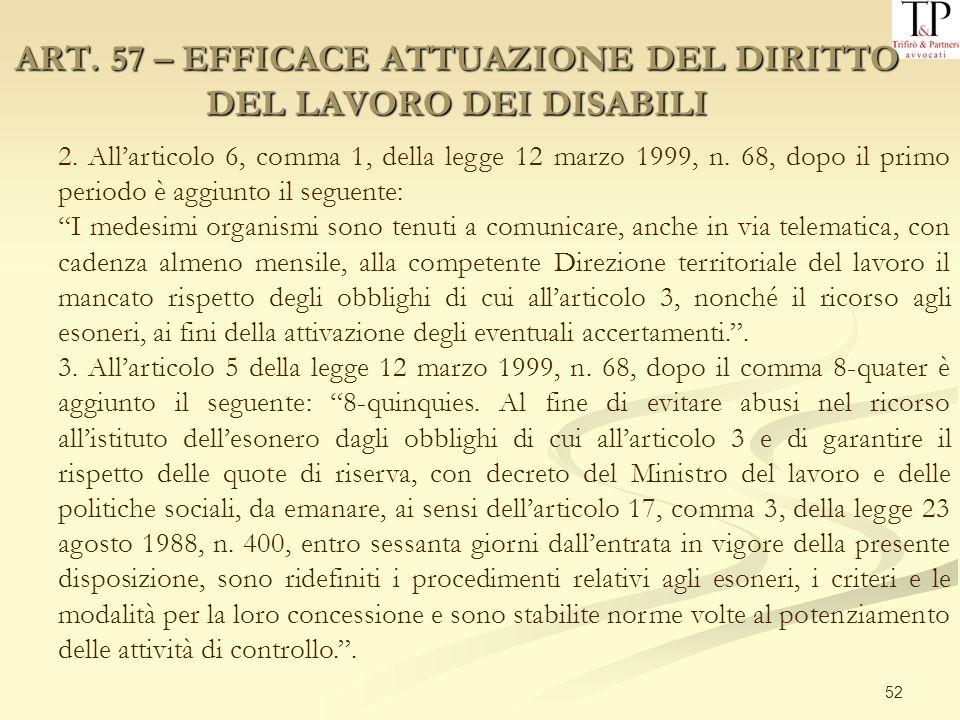 52 ART. 57 – EFFICACE ATTUAZIONE DEL DIRITTO DEL LAVORO DEI DISABILI 2. Allarticolo 6, comma 1, della legge 12 marzo 1999, n. 68, dopo il primo period