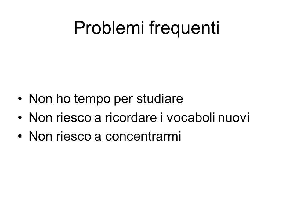 Problemi frequenti Non ho tempo per studiare Non riesco a ricordare i vocaboli nuovi Non riesco a concentrarmi
