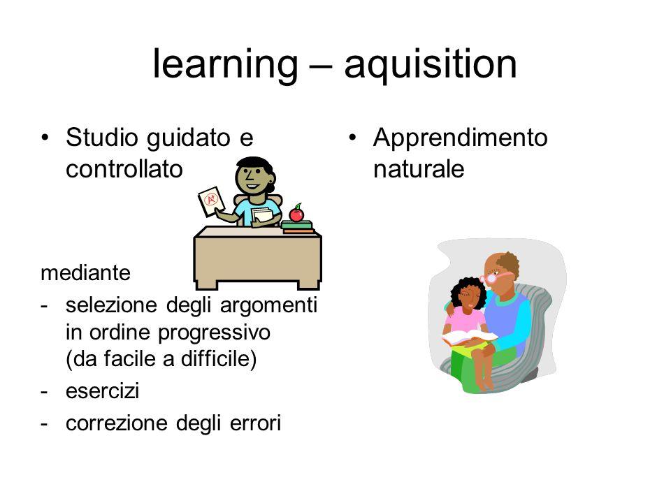 learning – aquisition Studio guidato e controllato mediante -selezione degli argomenti in ordine progressivo (da facile a difficile) -esercizi -correz