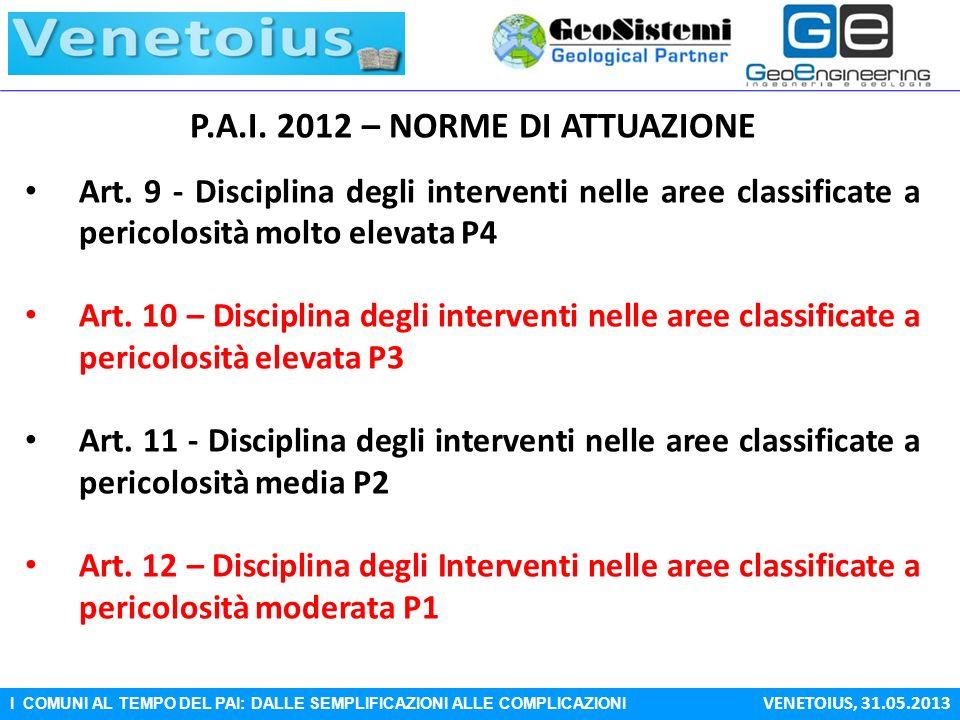I COMUNI AL TEMPO DEL PAI: DALLE SEMPLIFICAZIONI ALLE COMPLICAZIONI VENETOIUS, 31.05.2013 P.A.I. 2012 – NORME DI ATTUAZIONE Art. 9 - Disciplina degli