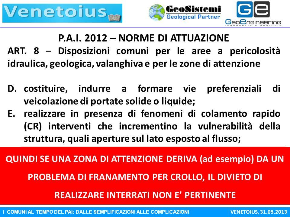 I COMUNI AL TEMPO DEL PAI: DALLE SEMPLIFICAZIONI ALLE COMPLICAZIONI VENETOIUS, 31.05.2013 P.A.I. 2012 – NORME DI ATTUAZIONE ART. 8 – Disposizioni comu