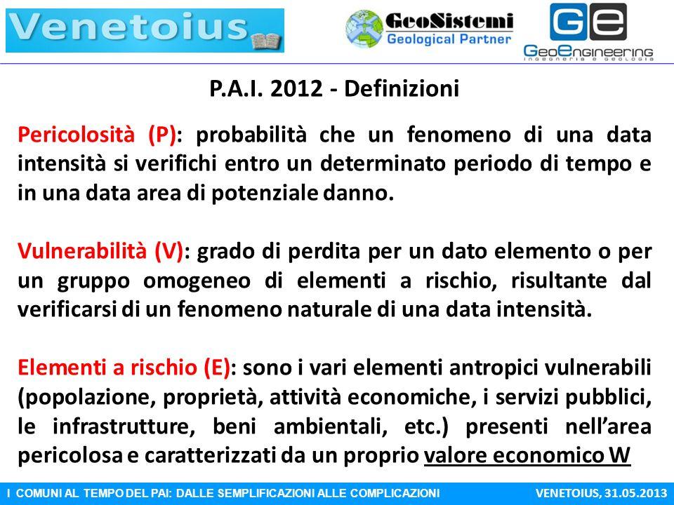 I COMUNI AL TEMPO DEL PAI: DALLE SEMPLIFICAZIONI ALLE COMPLICAZIONI VENETOIUS, 31.05.2013 P.A.I. 2012 - Definizioni Pericolosità (P): probabilità che