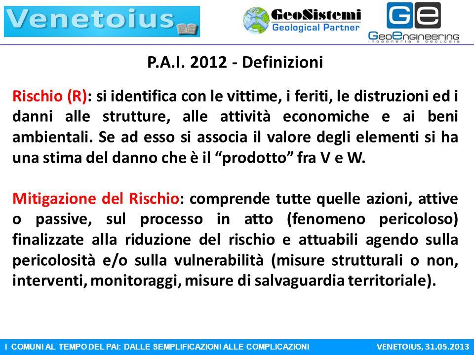I COMUNI AL TEMPO DEL PAI: DALLE SEMPLIFICAZIONI ALLE COMPLICAZIONI VENETOIUS, 31.05.2013 P.A.I. 2012 - Definizioni Rischio (R): si identifica con le
