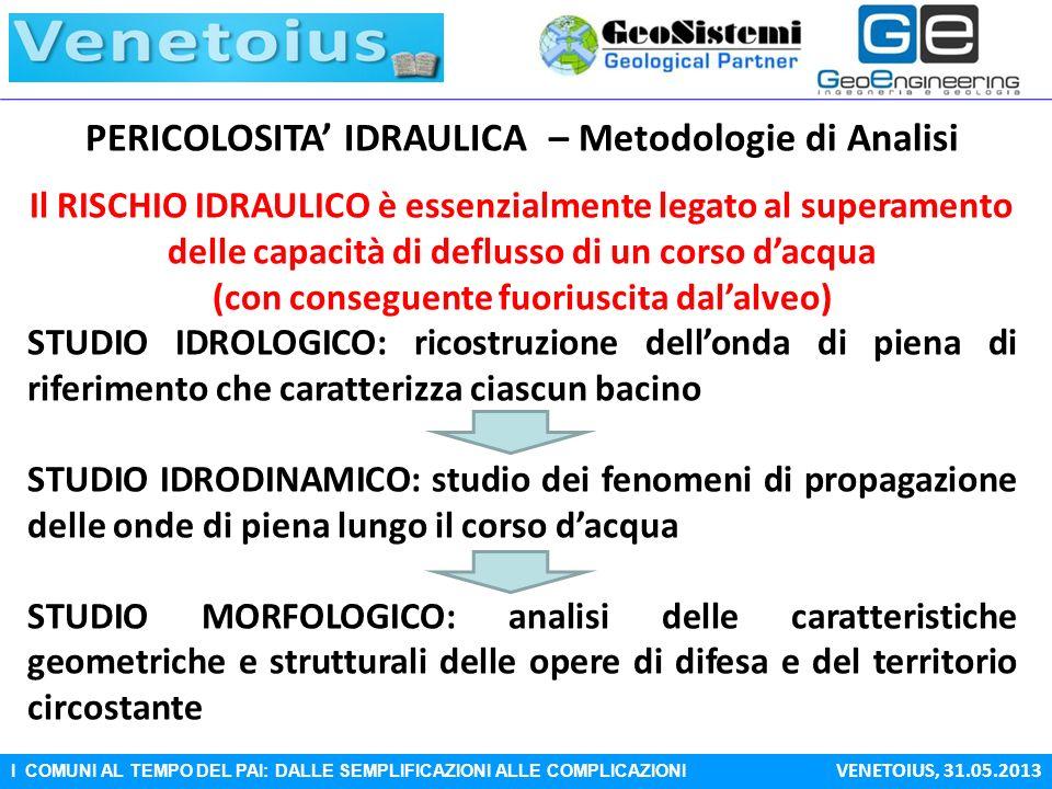 I COMUNI AL TEMPO DEL PAI: DALLE SEMPLIFICAZIONI ALLE COMPLICAZIONI VENETOIUS, 31.05.2013 PERICOLOSITA IDRAULICA – Metodologie di Analisi Il RISCHIO I