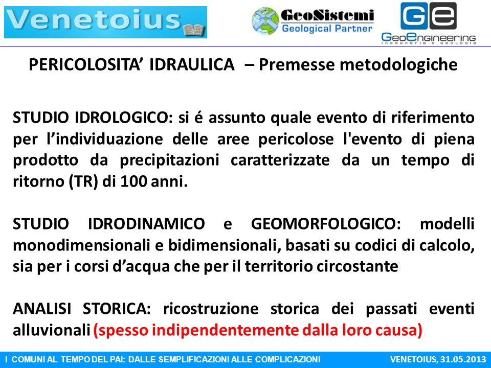 I COMUNI AL TEMPO DEL PAI: DALLE SEMPLIFICAZIONI ALLE COMPLICAZIONI VENETOIUS, 31.05.2013 PERICOLOSITA IDRAULICA – Premesse metodologiche STUDIO IDROL