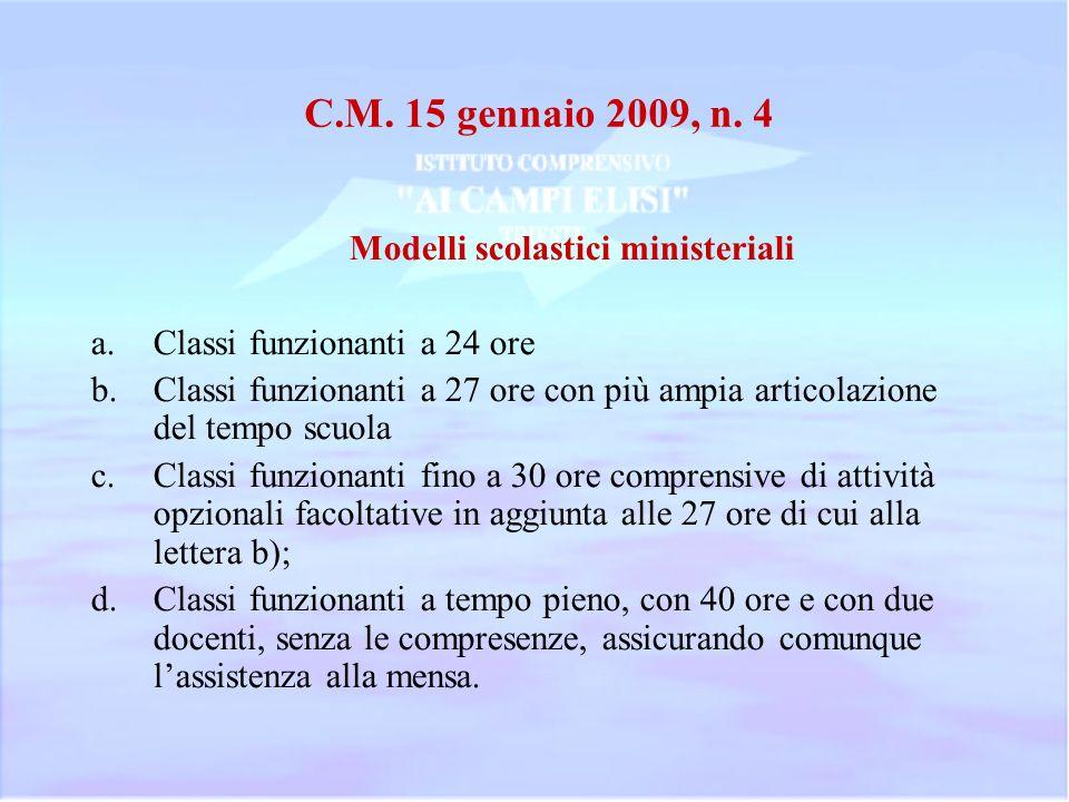 C.M. 15 gennaio 2009, n. 4 Modelli scolastici ministeriali a.Classi funzionanti a 24 ore b.Classi funzionanti a 27 ore con più ampia articolazione del