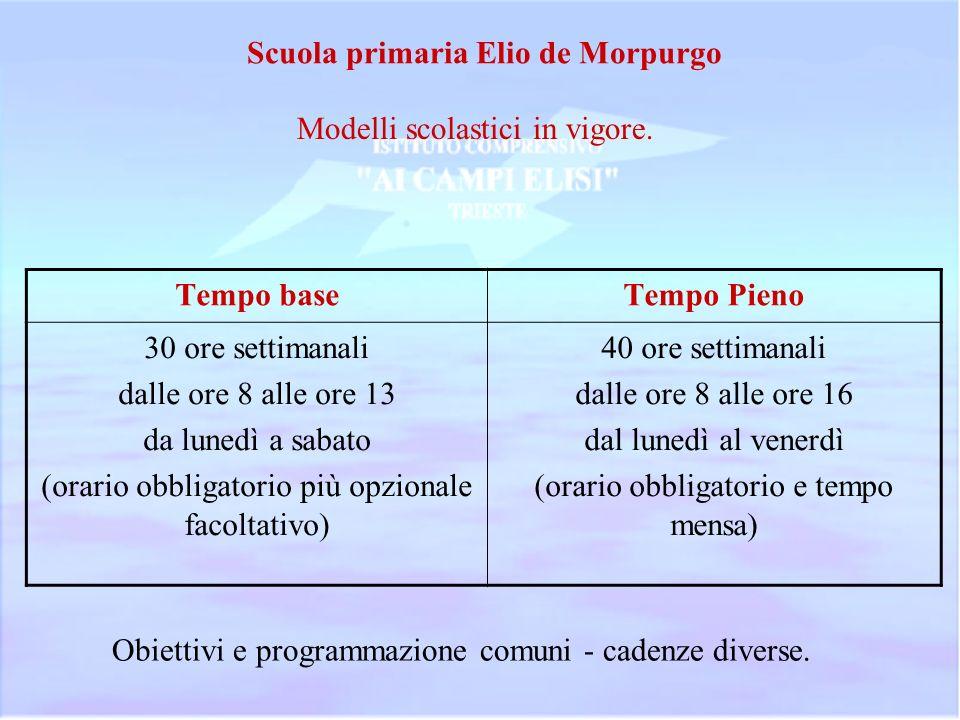Scuola primaria Elio de Morpurgo Modelli scolastici in vigore. Tempo baseTempo Pieno 30 ore settimanali dalle ore 8 alle ore 13 da lunedì a sabato (or