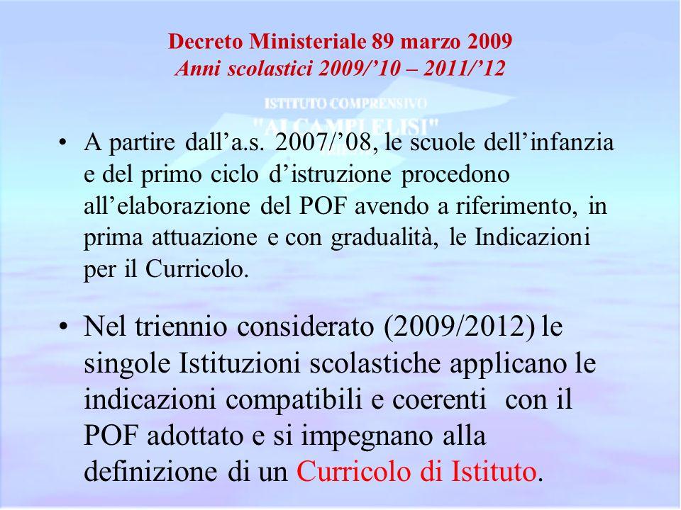 Decreto Ministeriale 89 marzo 2009 Anni scolastici 2009/10 – 2011/12 A partire dalla.s. 2007/08, le scuole dellinfanzia e del primo ciclo distruzione