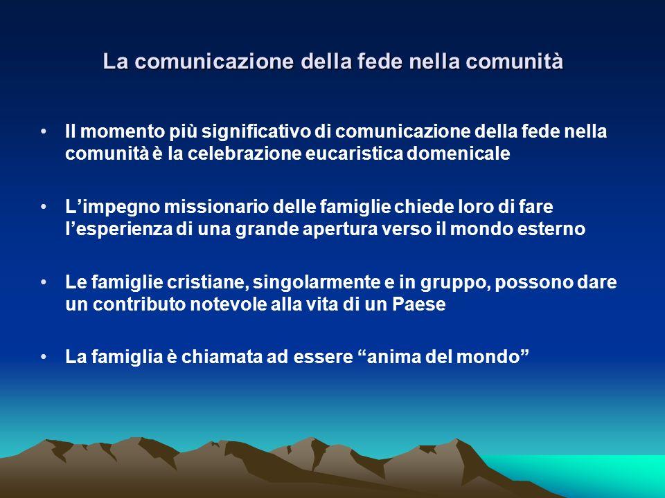 La comunicazione della fede nella comunità Il momento più significativo di comunicazione della fede nella comunità è la celebrazione eucaristica domen