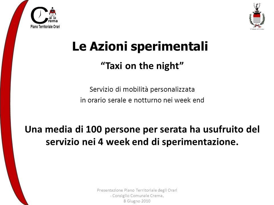 Le Azioni sperimentali Taxi on the night Servizio di mobilità personalizzata in orario serale e notturno nei week end Una media di 100 persone per serata ha usufruito del servizio nei 4 week end di sperimentazione.