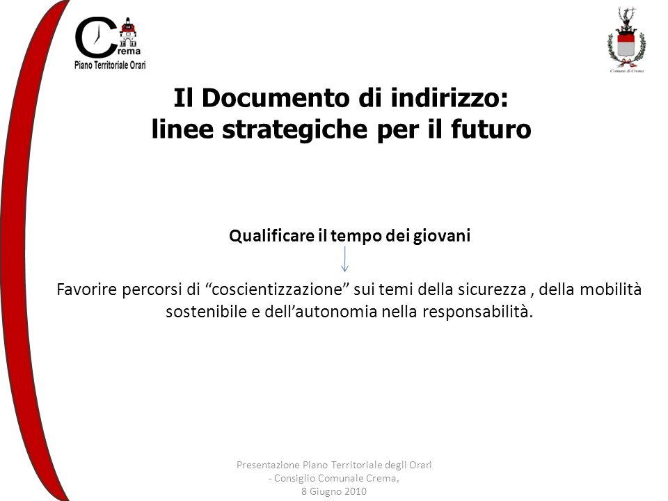 Il Documento di indirizzo: linee strategiche per il futuro Qualificare il tempo dei giovani Favorire percorsi di coscientizzazione sui temi della sicurezza, della mobilità sostenibile e dellautonomia nella responsabilità.