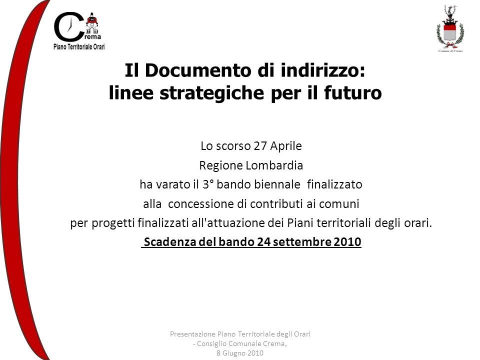 Il Documento di indirizzo: linee strategiche per il futuro Lo scorso 27 Aprile Regione Lombardia ha varato il 3° bando biennale finalizzato alla concessione di contributi ai comuni per progetti finalizzati all attuazione dei Piani territoriali degli orari.