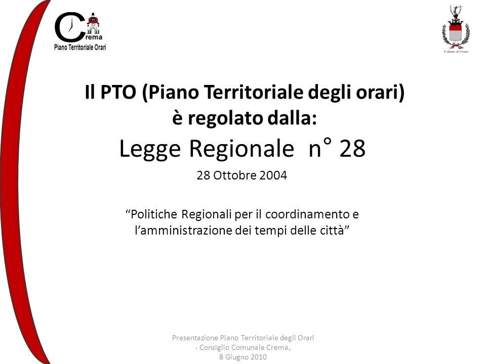 Il PTO (Piano Territoriale degli orari) è regolato dalla: Legge Regionale n° 28 28 Ottobre 2004 Politiche Regionali per il coordinamento e lamministrazione dei tempi delle città Presentazione Piano Territoriale degli Orari - Consiglio Comunale Crema, 8 Giugno 2010