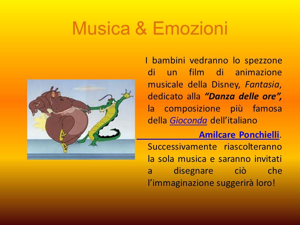 Musica & Emozioni I bambini vedranno lo spezzone di un film di animazione musicale della Disney, Fantasia, dedicato alla Danza delle ore, la composizi