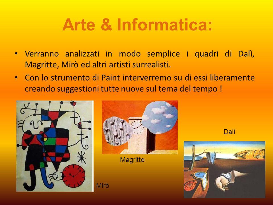 Arte & Informatica: Verranno analizzati in modo semplice i quadri di Dalì, Magritte, Mirò ed altri artisti surrealisti. Con lo strumento di Paint inte