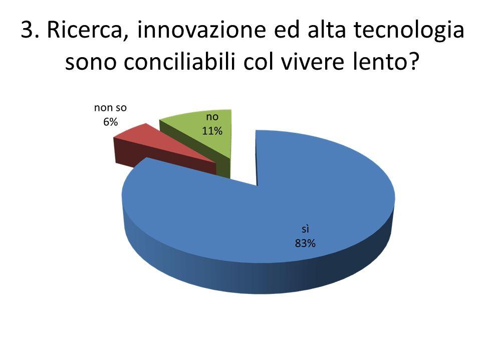 3. Ricerca, innovazione ed alta tecnologia sono conciliabili col vivere lento