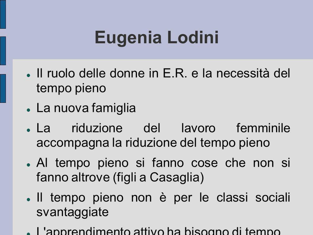 Eugenia Lodini Il ruolo delle donne in E.R. e la necessità del tempo pieno La nuova famiglia La riduzione del lavoro femminile accompagna la riduzione