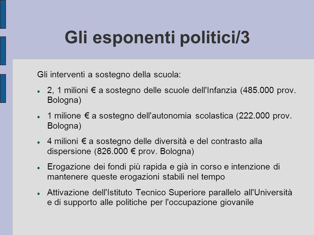 Gli esponenti politici/3 Gli interventi a sostegno della scuola: 2, 1 milioni a sostegno delle scuole dell'Infanzia (485.000 prov. Bologna) 1 milione