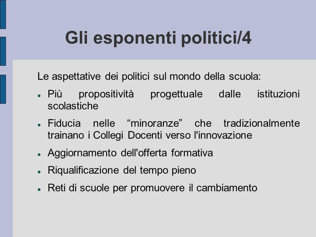 Gli esponenti politici/4 Le aspettative dei politici sul mondo della scuola: Più propositività progettuale dalle istituzioni scolastiche Fiducia nelle