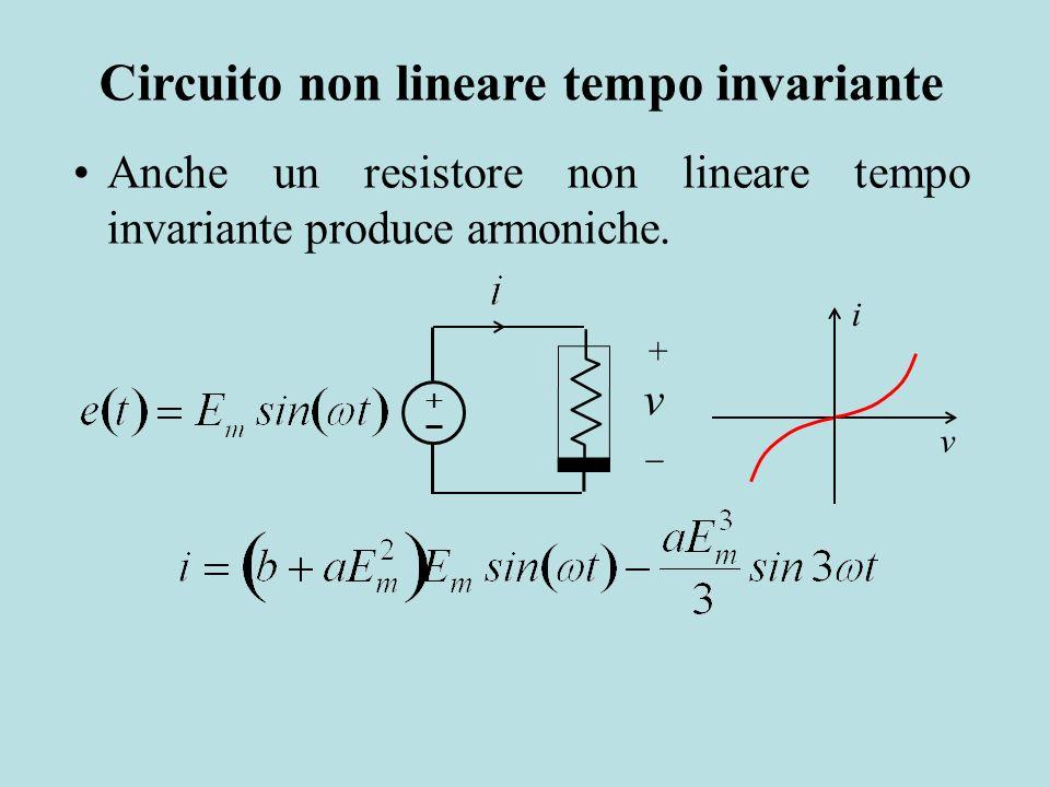 v + v i Anche un resistore non lineare tempo invariante produce armoniche. Circuito non lineare tempo invariante