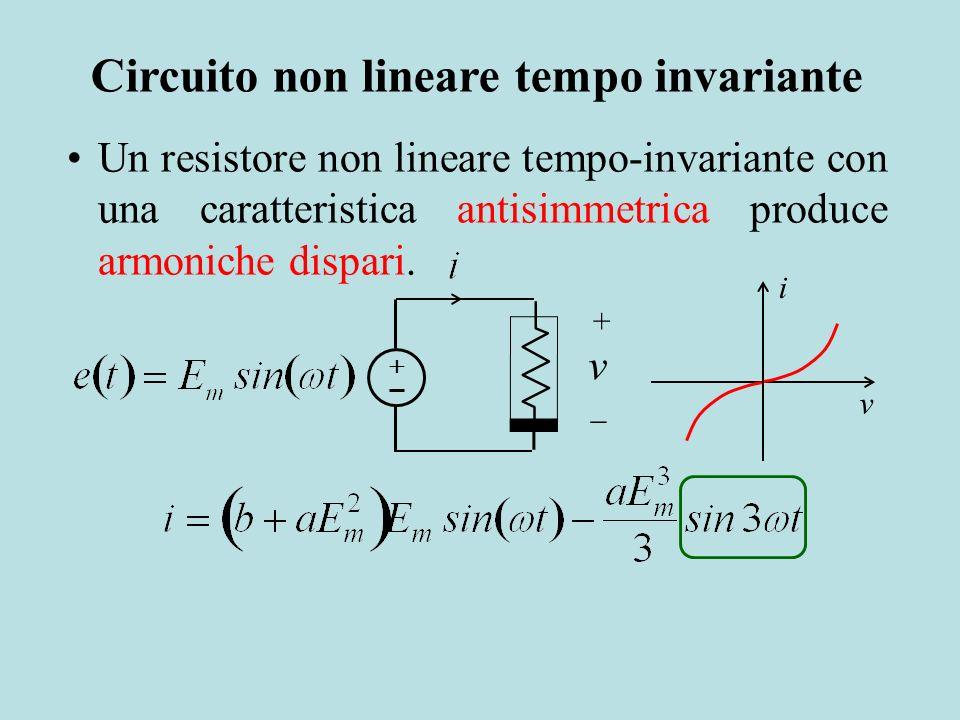 Un resistore non lineare tempo-invariante con una caratteristica antisimmetrica produce armoniche dispari. v + v i Circuito non lineare tempo invarian