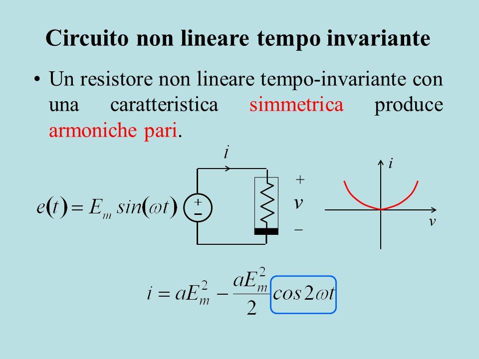 v + v i Un resistore non lineare tempo-invariante con una caratteristica simmetrica produce armoniche pari. Circuito non lineare tempo invariante