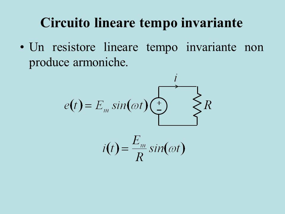Un resistore lineare tempo invariante non produce armoniche. Circuito lineare tempo invariante