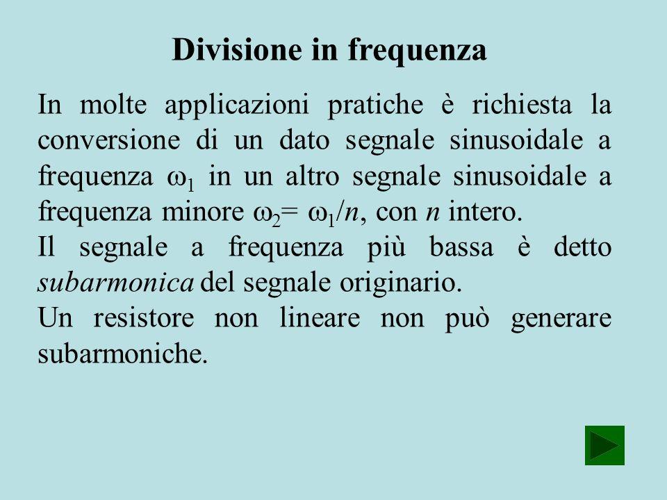 Divisione in frequenza In molte applicazioni pratiche è richiesta la conversione di un dato segnale sinusoidale a frequenza 1 in un altro segnale sinu