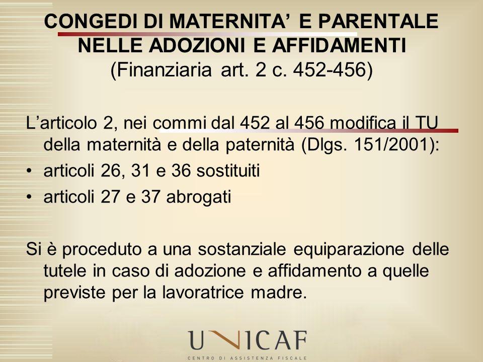 Larticolo 2, nei commi dal 452 al 456 modifica il TU della maternità e della paternità (Dlgs. 151/2001): articoli 26, 31 e 36 sostituiti articoli 27 e