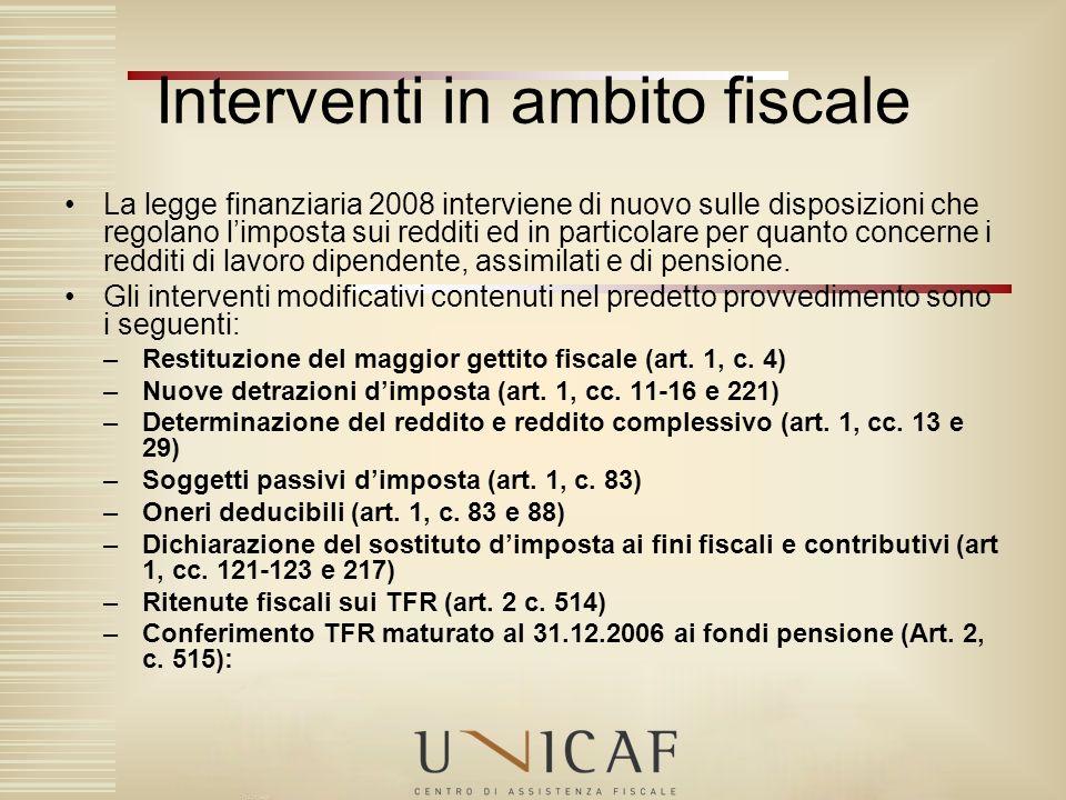 La legge finanziaria 2008 interviene di nuovo sulle disposizioni che regolano limposta sui redditi ed in particolare per quanto concerne i redditi di