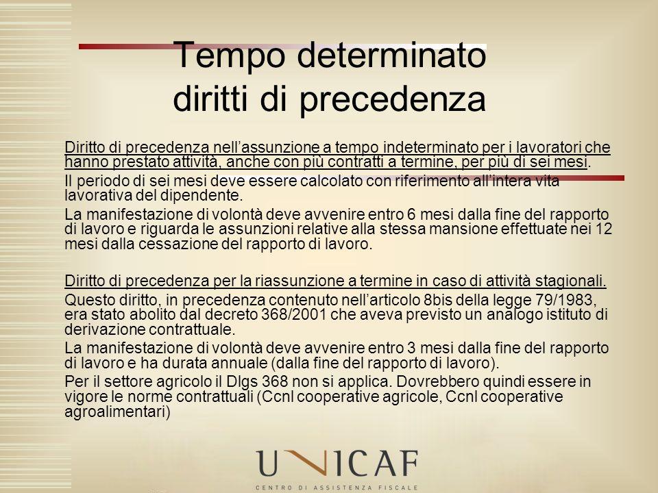 Tempo determinato diritti di precedenza Diritto di precedenza nellassunzione a tempo indeterminato per i lavoratori che hanno prestato attività, anche