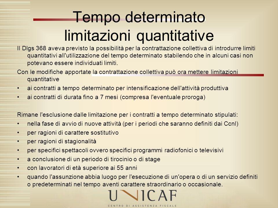 Il Dlgs 368 aveva previsto la possibilità per la contrattazione collettiva di introdurre limiti quantitativi all'utilizzazione del tempo determinato s