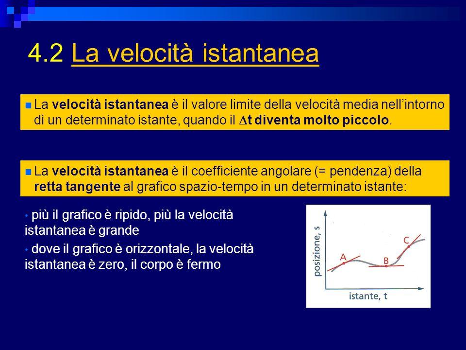 4.2 La velocità istantaneaLa velocità istantanea La velocità istantanea è il valore limite della velocità media nellintorno di un determinato istante, quando il t diventa molto piccolo.