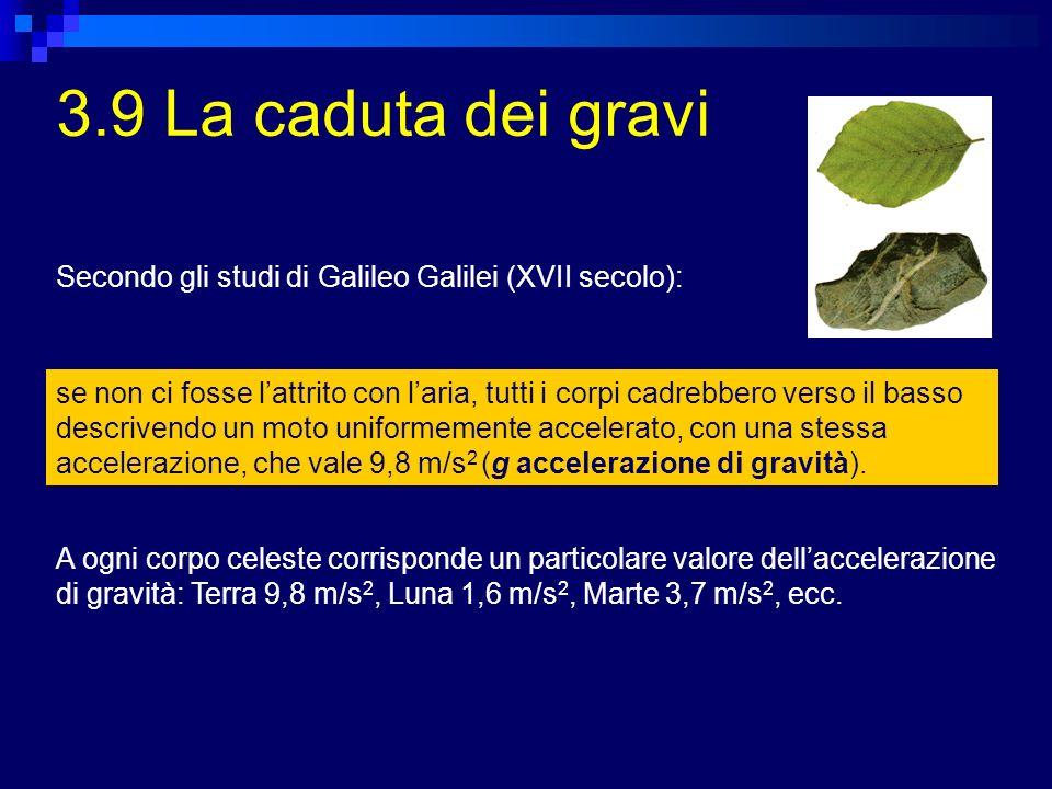 3.9 La caduta dei gravi se non ci fosse lattrito con laria, tutti i corpi cadrebbero verso il basso descrivendo un moto uniformemente accelerato, con una stessa accelerazione, che vale 9,8 m/s 2 (g accelerazione di gravità).