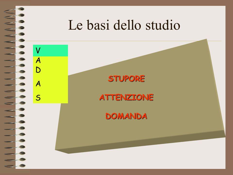 Le basi dello studio STUPORE ATTENZIONE DOMANDA A D A S V