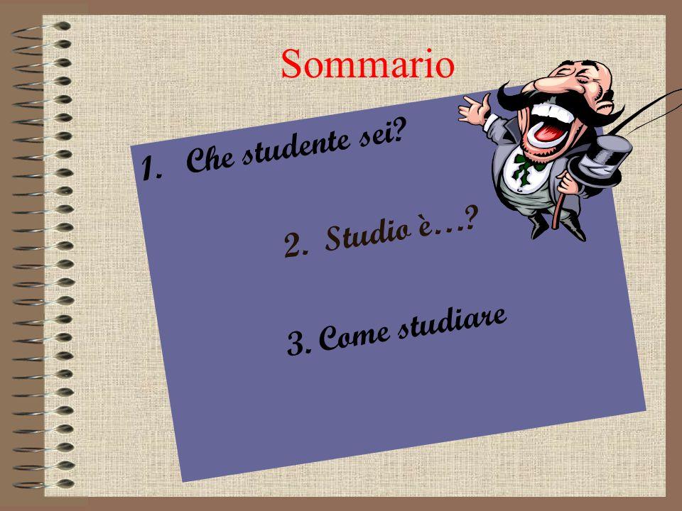 Sommario 1.Che studente sei? 2. Studio è…? 3. Come studiare