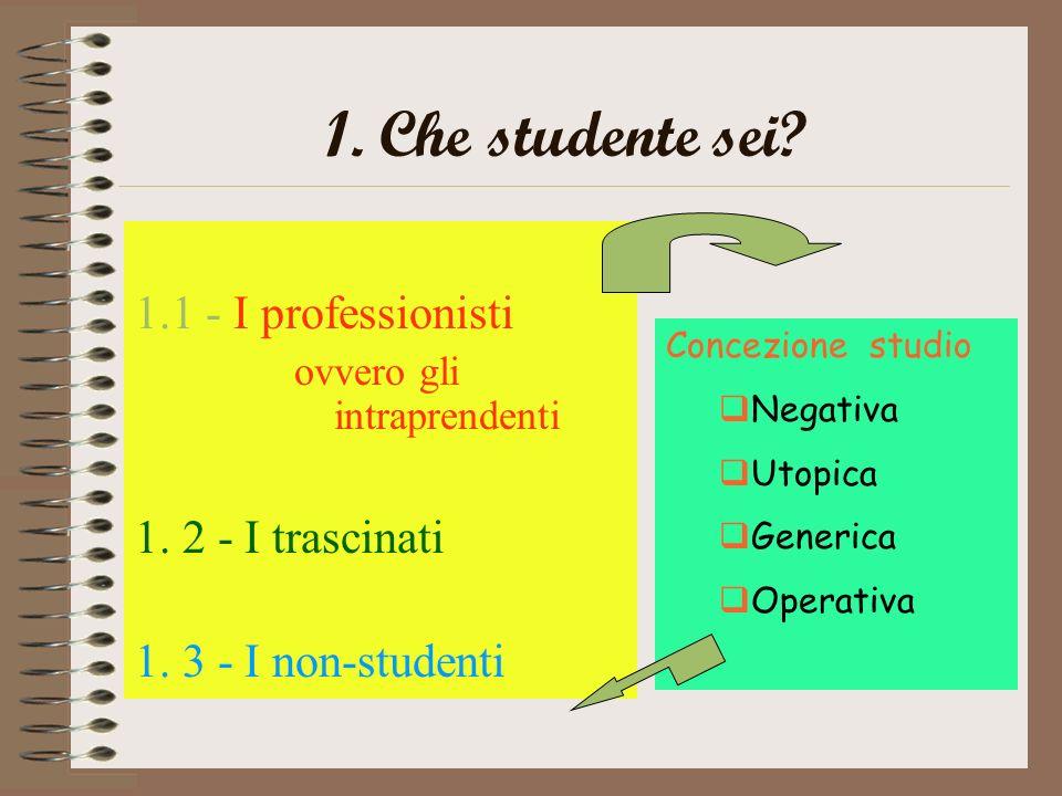 1.Che studente sei. 1.1 - I professionisti ovvero gli intraprendenti 1.