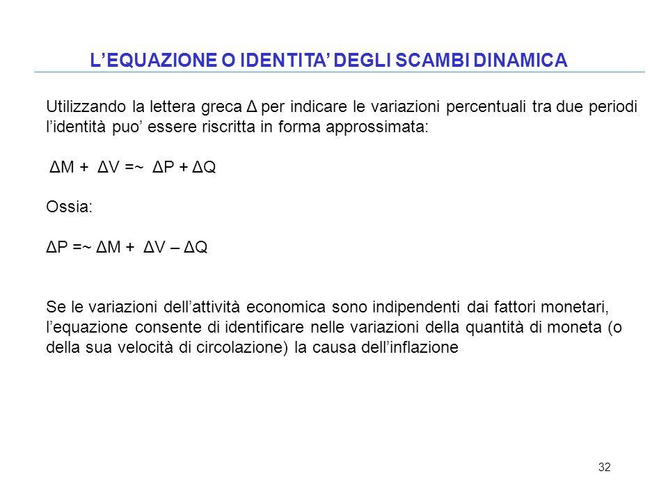 32 LEQUAZIONE O IDENTITA DEGLI SCAMBI DINAMICA Utilizzando la lettera greca Δ per indicare le variazioni percentuali tra due periodi lidentità puo ess