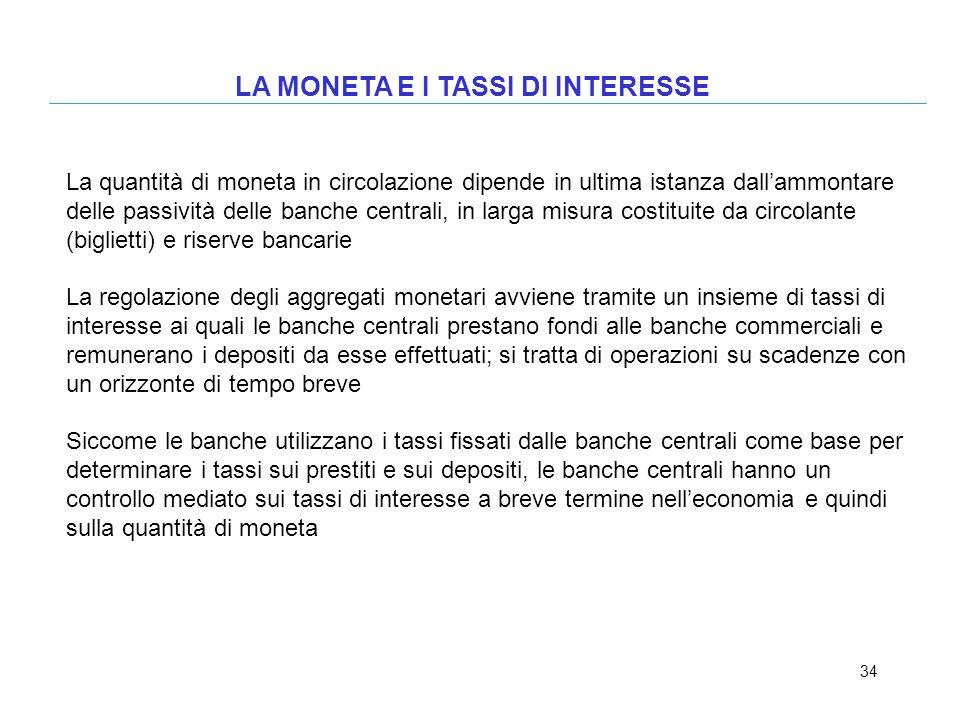 34 LA MONETA E I TASSI DI INTERESSE La quantità di moneta in circolazione dipende in ultima istanza dallammontare delle passività delle banche central