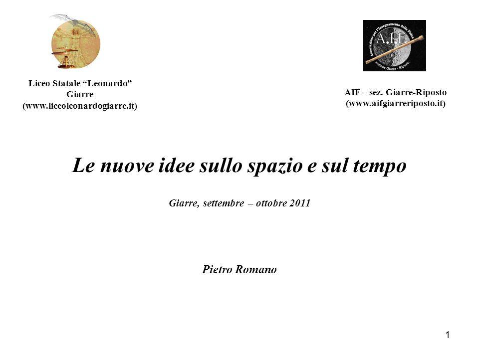 Le nuove idee sullo spazio e sul tempo Giarre, settembre – ottobre 2011 AIF – sez. Giarre-Riposto (www.aifgiarreriposto.it) Liceo Statale Leonardo Gia