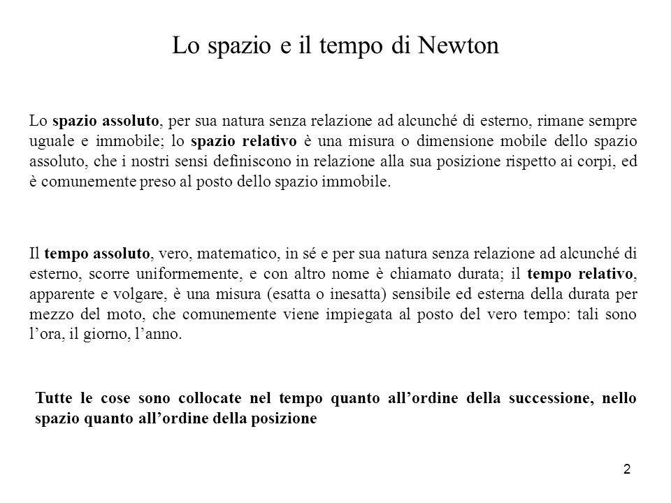 Lo spazio e il tempo di Newton Il tempo assoluto, vero, matematico, in sé e per sua natura senza relazione ad alcunché di esterno, scorre uniformement