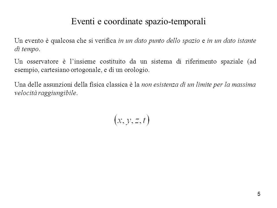 Eventi e coordinate spazio-temporali Un evento è qualcosa che si verifica in un dato punto dello spazio e in un dato istante di tempo. Una delle assun