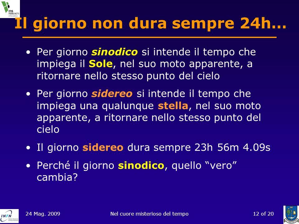 24 Mag. 2009Nel cuore misterioso del tempo12 of 20 Il giorno non dura sempre 24h… Per giorno sinodico si intende il tempo che impiega il Sole, nel suo
