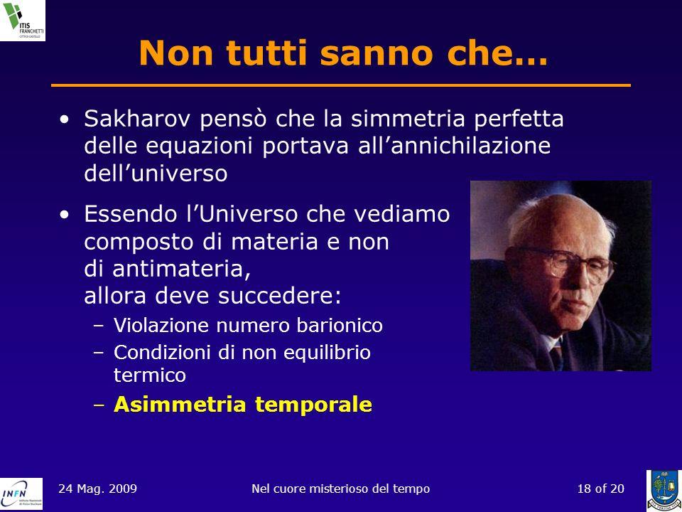 24 Mag. 2009Nel cuore misterioso del tempo18 of 20 Non tutti sanno che… Sakharov pensò che la simmetria perfetta delle equazioni portava allannichilaz