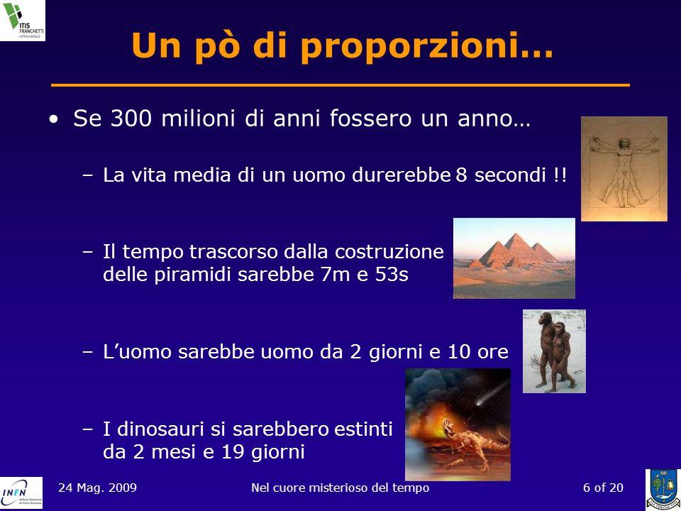 24 Mag. 2009Nel cuore misterioso del tempo6 of 20 Un pò di proporzioni… Se 300 milioni di anni fossero un anno… –La vita media di un uomo durerebbe 8