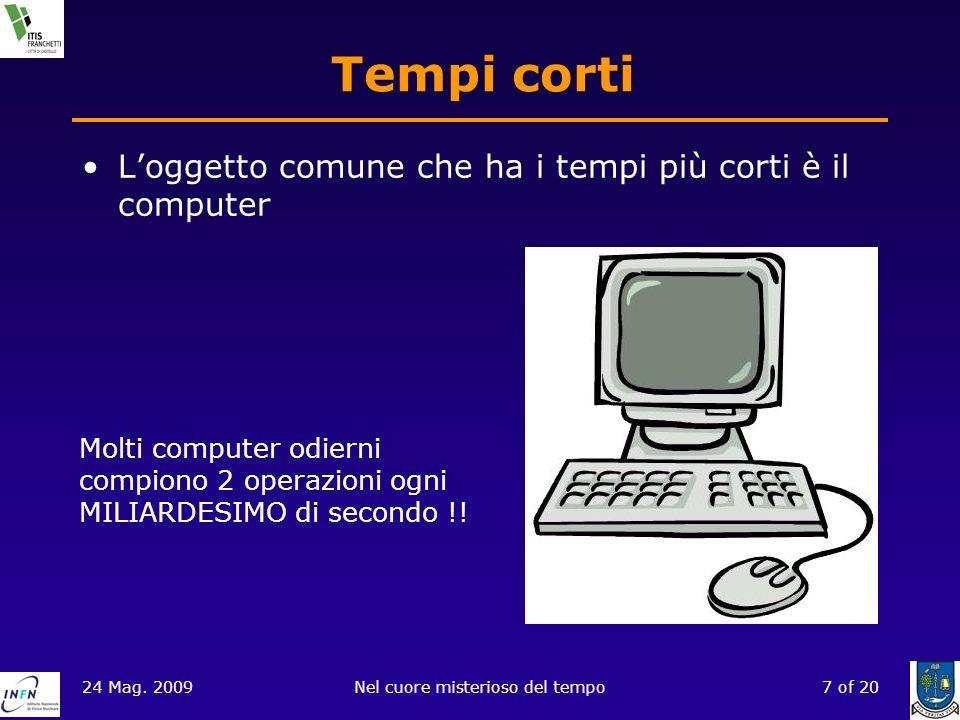 24 Mag. 2009Nel cuore misterioso del tempo7 of 20 Tempi corti Loggetto comune che ha i tempi più corti è il computer Molti computer odierni compiono 2