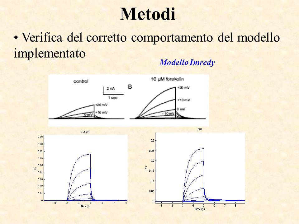 Metodi Verifica del corretto comportamento del modello implementato Modello Imredy