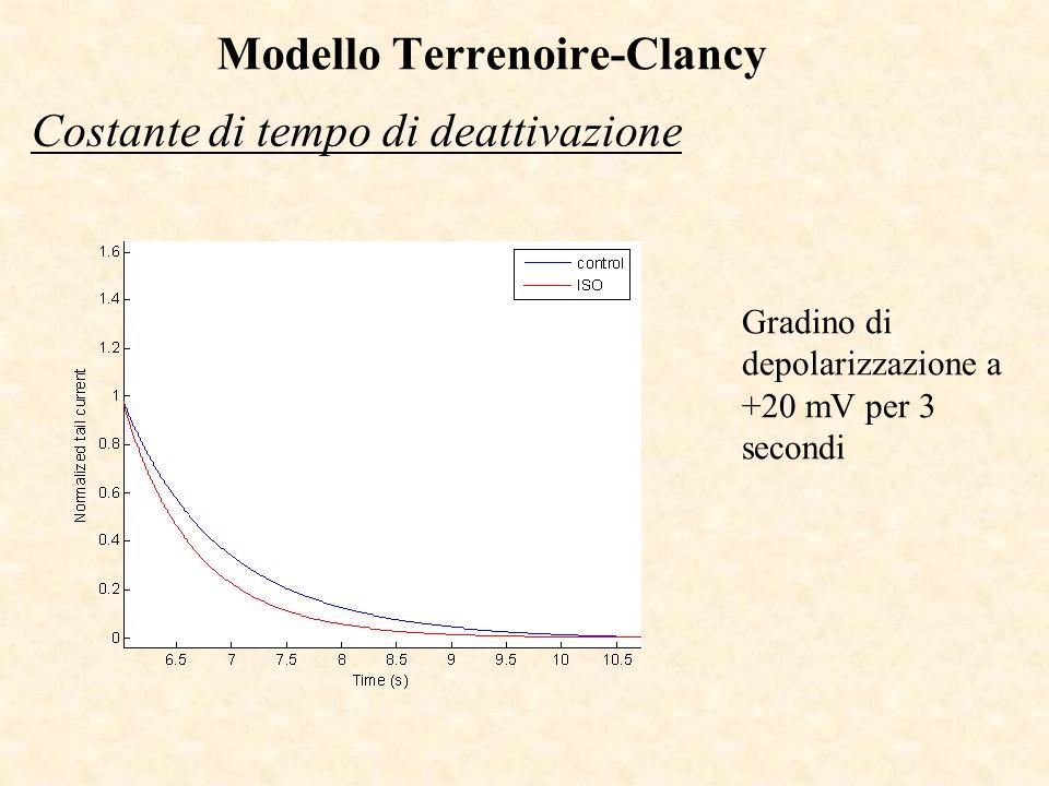 Costante di tempo di deattivazione Gradino di depolarizzazione a +20 mV per 3 secondi