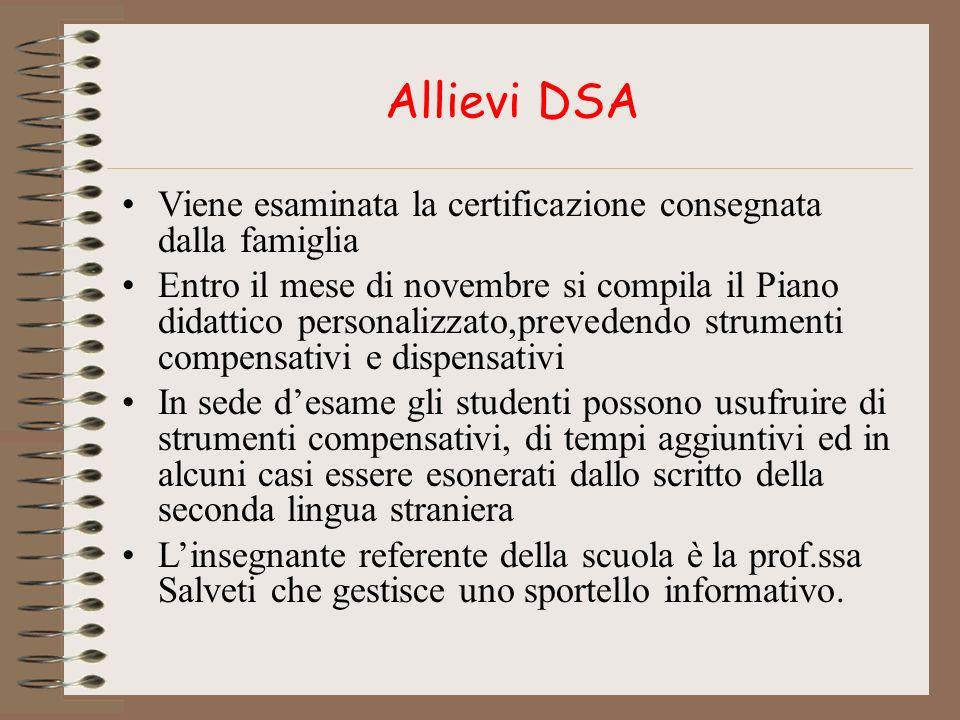 Allievi DSA Viene esaminata la certificazione consegnata dalla famiglia Entro il mese di novembre si compila il Piano didattico personalizzato,prevede