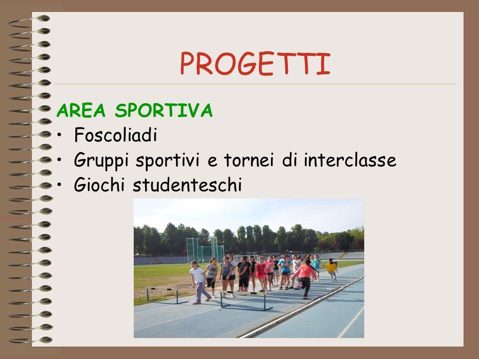 PROGETTI AREA SPORTIVA Foscoliadi Gruppi sportivi e tornei di interclasse Giochi studenteschi